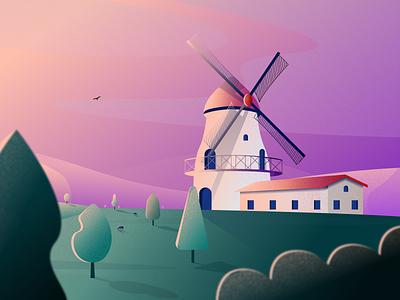 Windmill Illustration house windmill texture gradient branding figma modern simple clean illustration vector nicholas kovalev