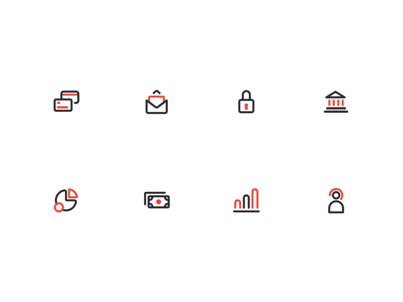 Bank Icons building customer service graphic money pie chart lock mail bank card bank icons design branding logo figma modern simple clean vector nicholas kovalev