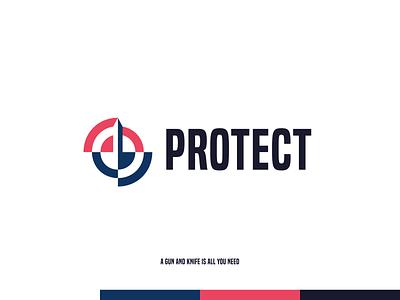 Protect-Logo Concept protect gun target knife self-defense design branding logo figma modern simple clean vector nicholas kovalev