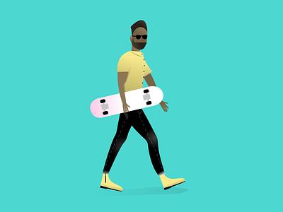 Dude walking beard jeans design people illustration glasses skateboard person guy