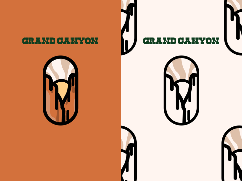 Grand Canyon Badge cowboy text green clouds rock sun vintage kovalev nicholas park national illustration logo orange badge canyon grand