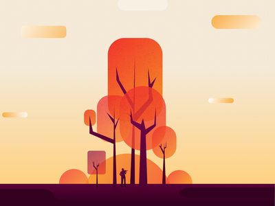 Playing in the Forest purple vector texture gradient kovalev nicholas hills clouds silhouette woods trees red yellow sunset forest the in playing