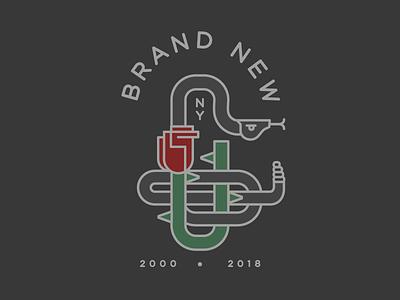Brand New - In Memoriam badge rose band flower snake illustration logo branding