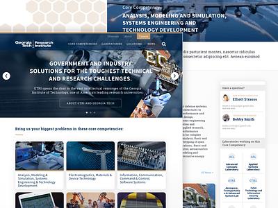 Georgia Tech Research Institute homepage research college tech georgia landing page lander ui site website web design web