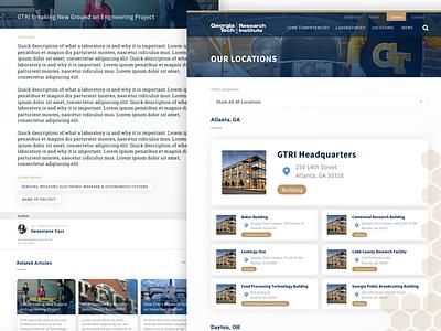 Georgia Tech UI 2 website site research detail locations tech georgia clean web design web ux ui