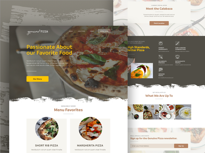Genuine Pizza Site 1 page landing product interface food web design landing page homepage website ui site pizza