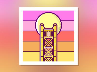 Tower Bridge sacramento bridge logo flat drawing design clean