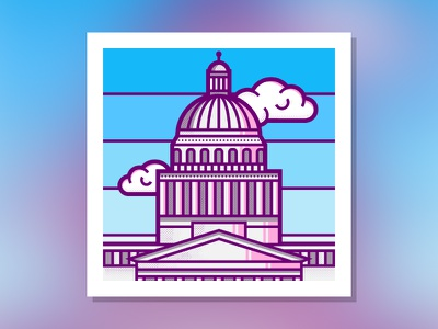 Capitol Building sacramento logo flat drawing design clean building capitol