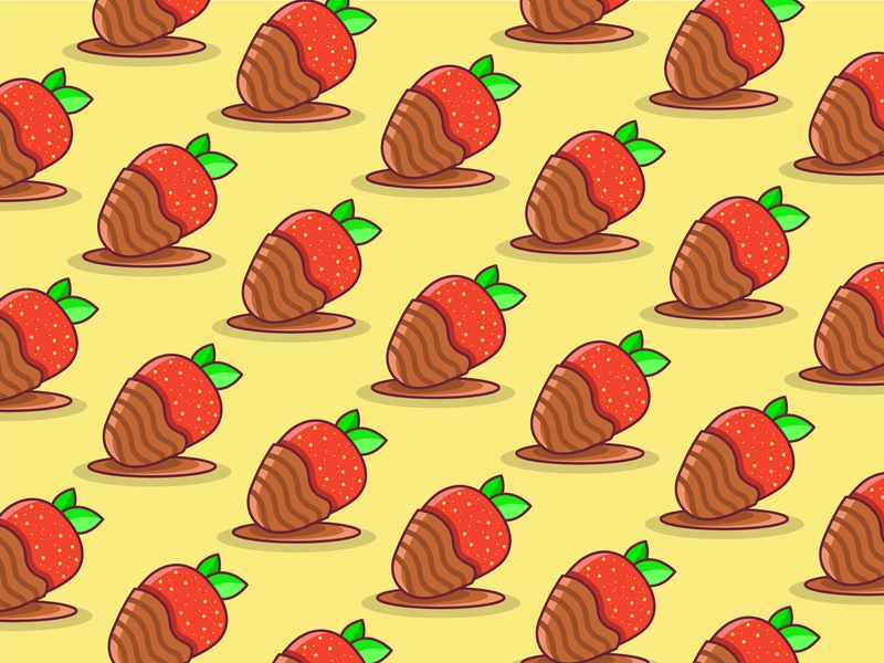 Chocolate Covered Strawberries pattern wallpaper strawberries strawberry daily vector art ux lines lineart vector illustration icon app sketch drawing flat logo clean design ui