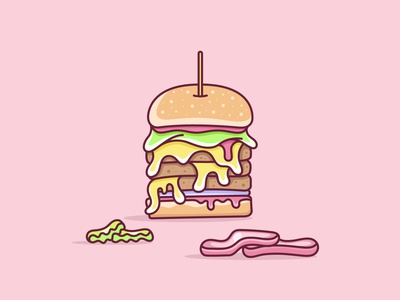 Hamburger, no pickles or tomatoes! lunch hamburger food ui branding daily vector art lines daily ui lineart vector illustration icon mark sketch drawing flat logo clean design
