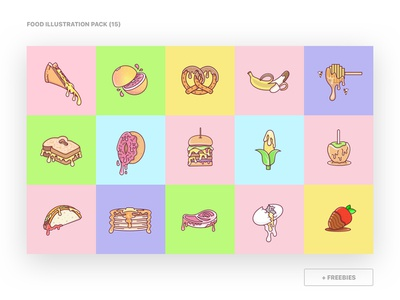 Food Illustration Pack (15) free freebies product food web vector art lines lineart vector icon app mark illustration drawing sketch logo flat clean ui design