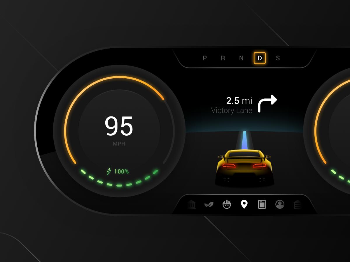 Digi Dash Concept car fresh digital dashboard digital dash glow gradient visual clean layout user interface ux ui sketch