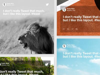 Twitter Tiles uidesign dailyui ux design cards social tweet twitter visual design interface ux web branding icon app sketch clean design ui