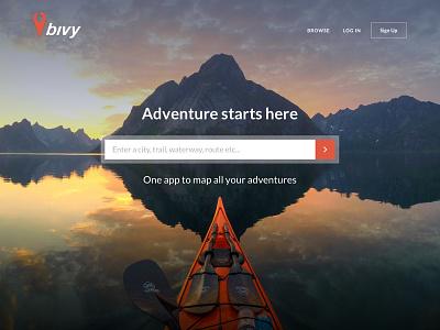 Bivy Landing Page adventure search landing page website