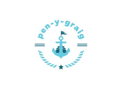 Pen Y Graig Logo Design blue illustrator flat sea water boat anchor brand logo