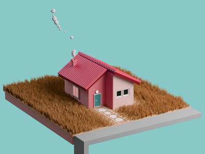 pink lowpoly house By Ahmed Jabnouni