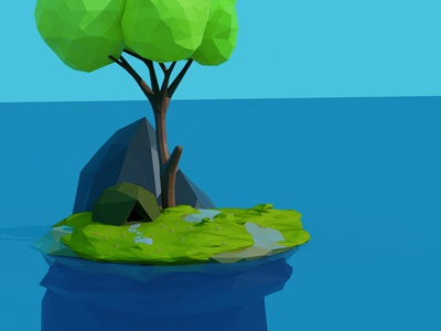 3D low poly island by ahmed Jabnouni