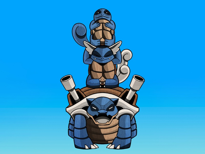 BLUE Totem illustration digital illustration digital art drawing