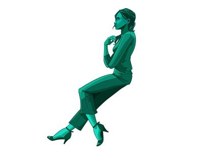 Sitting Woman Green