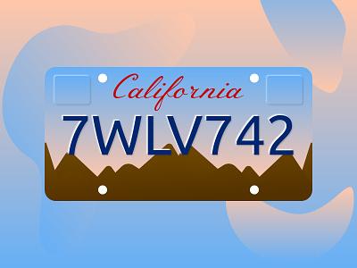 California License Plate blue weeklywarmup car vector license plate california dribbbleweeklywarmup illustration sketchapp minimal flat gradient vector illustration vector art design ux ui