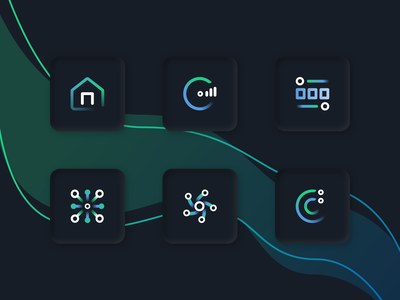 Gradient Icons - On Light and Dark illustration vector icons gradient minimal ui branding logo design flat sketchapp iconography