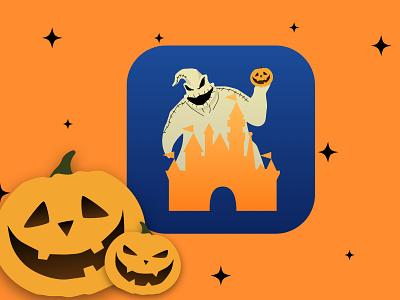 Oogie Boogie Disney Invasion icon logo landing page illustration minimal ios ux disneyland halloween app icon app vector ui flat daily 100 challenge dailyui