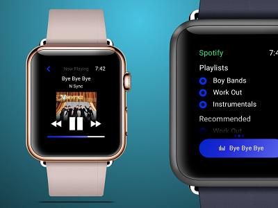 Apple Watch Music Player application design application illustration music player apple watch apple sketchapp ios ux ui minimal flat dailyui daily 100 challenge