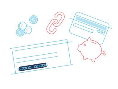 Link Bank Account cents account link money card checkbook bank pig illustration vector