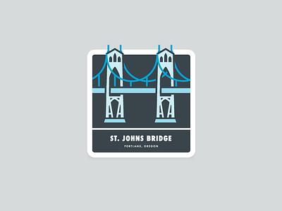St.Johns Bridge sticker badge blue st. johns oregon portland bridge illustrations
