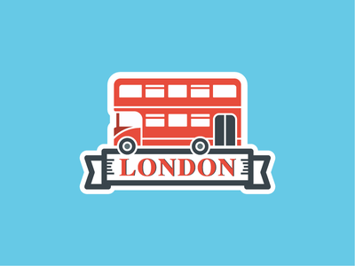 London Double Decker office location sticker badge illustration bus double decker london