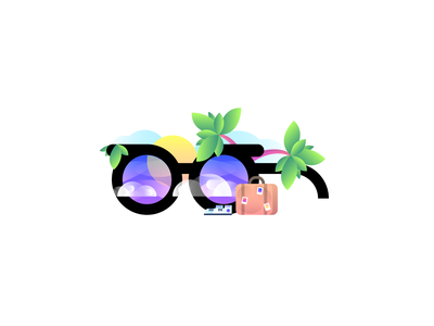 Travel Vision gradient nature trees flat illustration graphic design travel palm shoes sun sky suitcase luggage glasses