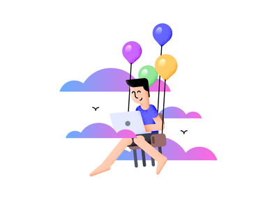 Work Anywhere character laptop chair balloon work remote texture vector illustration flat