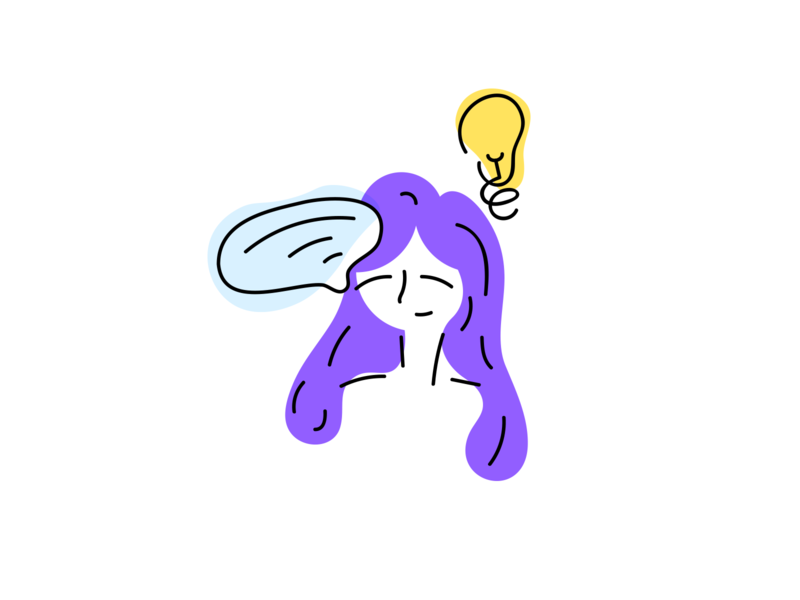Ideas expression light flowing free speech stroke bubble purple media girl idea bulb social message heppy character illustration flat