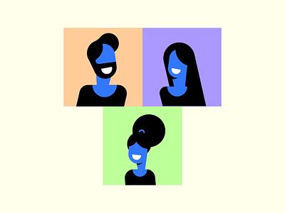 Family Photo neck support care smile skin blue hair beard man woman girl character illustration flat