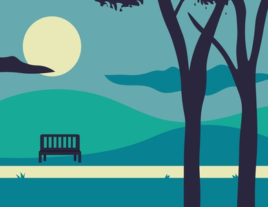 Walk in the Park green blue drawing landscape pentool minimal flat vector illustrator illustration design