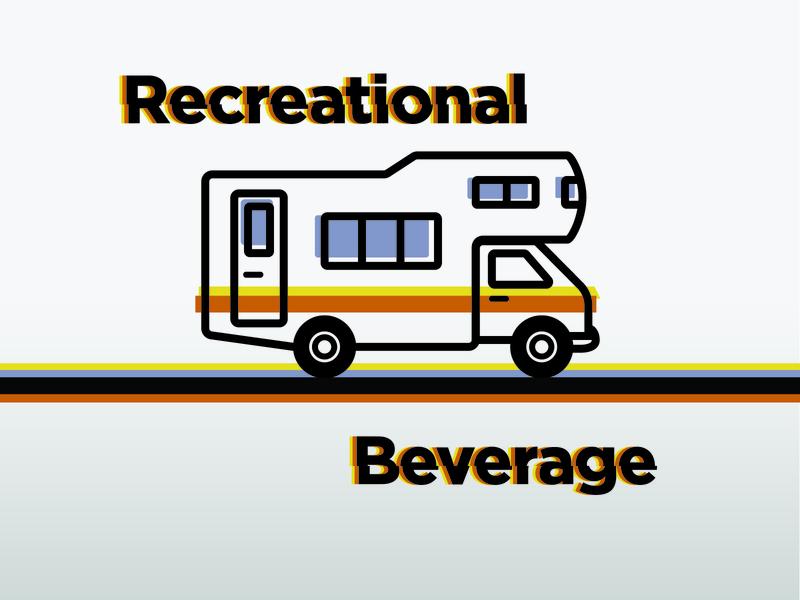 Recreational Beverage camper trailer beverage recreation illustration vector beer branding beer label beer