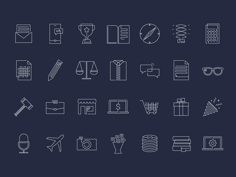 Lawyer icon set money cashflow contracts lawyer tax party lineart scale compass legal icons