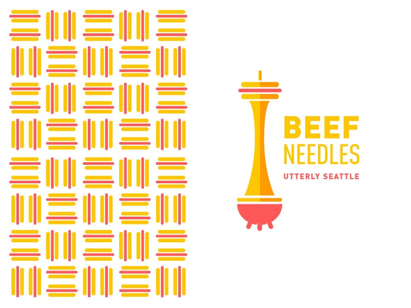 Beef Needles Concept space needle washington fuse cow utters seattle logo illustration ketchup mustard hotdogs beef