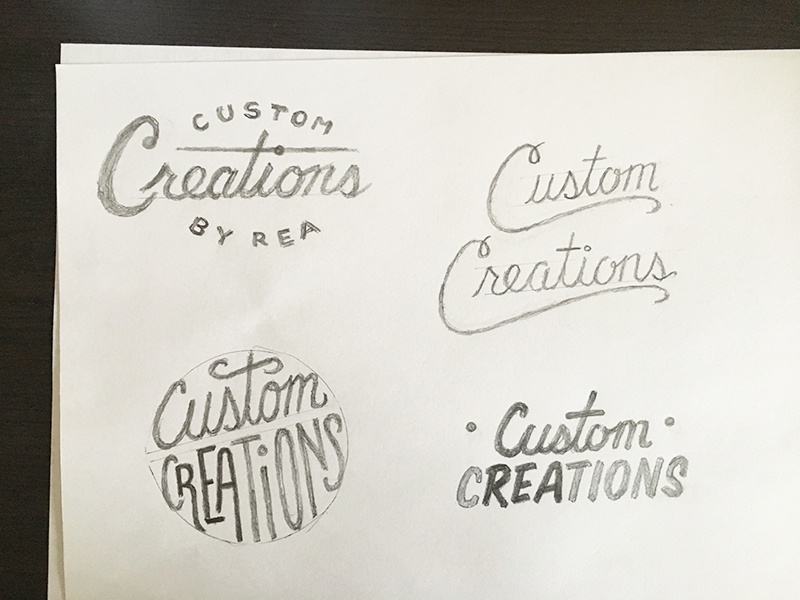 Custom Creations sketches brush lettering custom lettering logo script hand lettering sketches