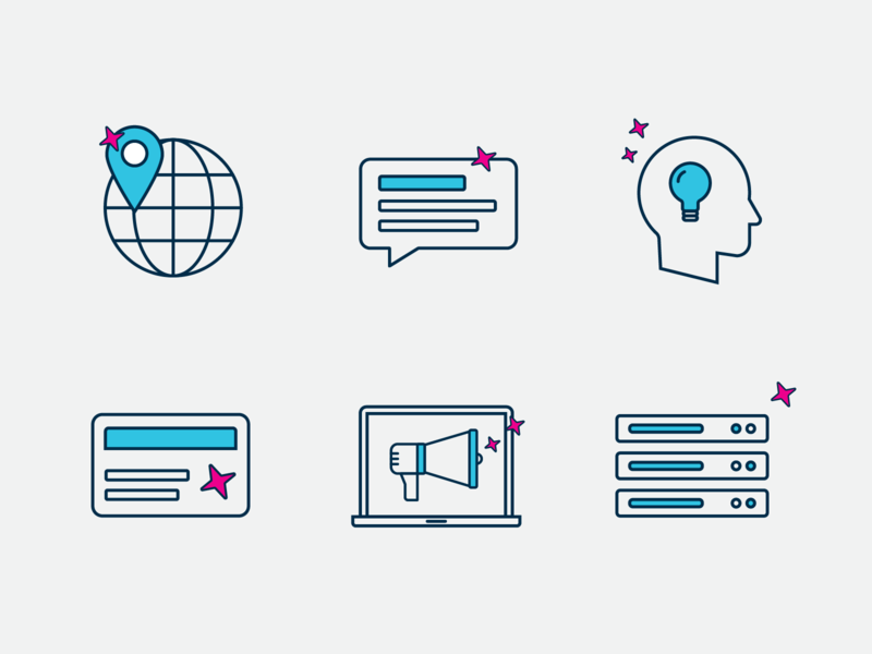 Technology Platform icon set 2 line icons data agencies knowledge understanding loyalty messaging location predictive