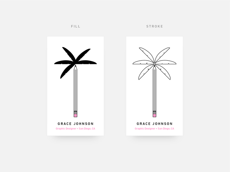 Personal Business Card san diego graphic designer pencil palm tree business card