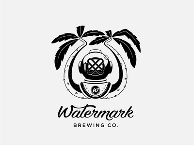 Diver logo vector diver tentacles palm tree beer branding vector logo