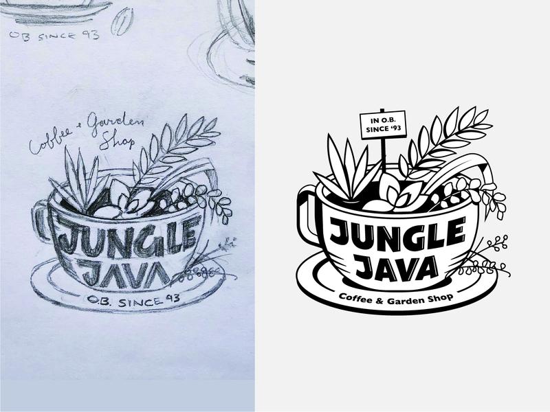 Jungle Java logo logo vector art ocean beach coffee shop garden plants succulents coffee java jungle