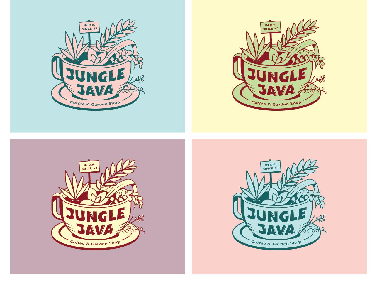 Jungle Java color exploration garden succulents plants pastels color study jungle logo coffee java