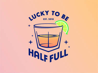 Lucky to Be Half Full cheers branding vector stars lime drink cocktail mantra illustration