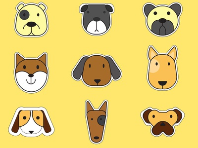 Dog Vector Sticker Set