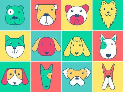 Dog Icon Pop Colors