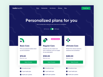 TrafoHealth - Pricing pricing table pricing plan pricing page minimal clean web pricing landing page health pattern website website design web design