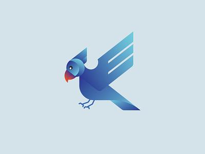 bird nucleolus character blue icon design logo animal gradient bird geometric