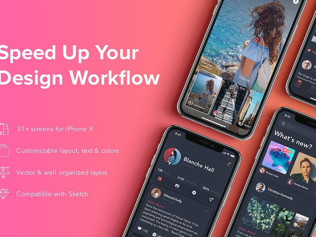 Zingo - Social App UI Kit chat app social mobile app web stock material mockup uikit vector elements bundle sell buy